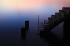 Staircase of harbor in sunrise time Royalty Free Stock Images