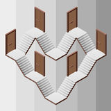 Staircase heart structure way with doors entrances Royalty Free Stock Image