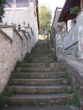 Staircase between houses stock photo