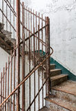 Staircase inside Trans-Allegheny Lunatic Asylum. Stairs and cast iron rails inside Trans-Allegheny Lunatic Asylum in Weston, West Virginia, USA stock photo