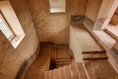 Staircase of jaral de berrio abandoned hacienda in mexico Stock Photography