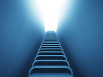 Staircase ladder up perspective in blue light Stock Photo