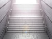 Staircase leading from a concrete pedestrian subway. The concept of success. 3D illustration Stock Image