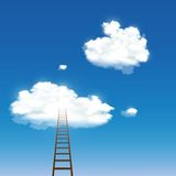 Staircase leading to the clouds. Vector staircase leading to the clouds Stock Photography