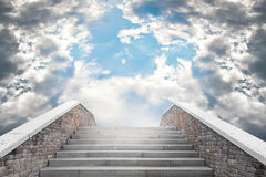 Staircase leading to the cloudy sky Stock Images