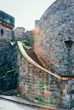 Staircase leading to Edinburgh Castle in Scotland. In the UK royalty free stock photo
