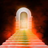 Staircase leading to heaven or hell. Light at the End of the Tunnel Stock Images