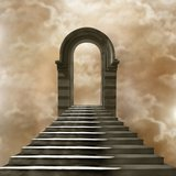 Staircase leading to heaven or hell. Light at the End of the Tunnel Royalty Free Stock Photos