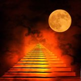 Staircase leading to heaven or hell. Light at the End of the Tunnel royalty free illustration