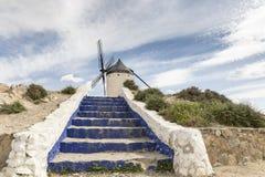 Staircase leading to a windmill in Consuegra, province of Toledo, Castilla-La Mancha, Spain Stock Image