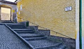 staircase leads to a bright archway Royalty Free Stock Image