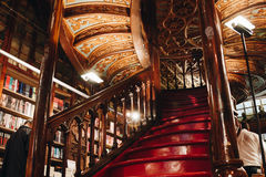 Staircase at the Lello Irmao bookstore in Porto Stock Images
