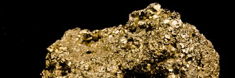 Staircase made of many cubic pyrite crystals, cut, close-up, fal. Staircase made of many cubic pyrite crystals, cropped, close-up, false gold, background black Stock Photography