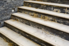 Staircase made by natural stone and tiles and get problem from b Stock Photography