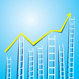 Staircase market graph representation Stock Photo