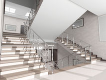 Staircase with metal railing in the interior Royalty Free Stock Photos
