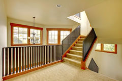 Staircase with metal railing. New luxury home interior. Royalty Free Stock Images