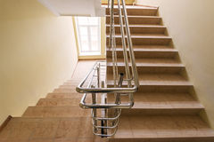 Staircase with metallic handrails Stock Images