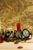 Staircase of money, Thai coins of one bath on wood and element a. Ntique clock,skull ,Shotgun shell background.Concept of financial planning and savings.Vintage Stock Photos
