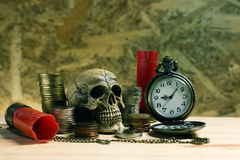 Staircase of money, Thai coins of one bath on wood and element a. Ntique clock,skull ,Shotgun shell background.Concept of financial planning and savings.Vintage Stock Photo