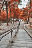 Staircase of Montmartre in autumn time. HDR view of the staircase of Montmartre in autumn time Stock Photos