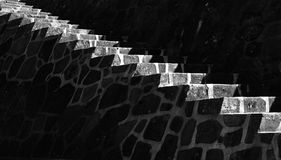 Staircase Monument. Stone staircase monument, in black and white with lighting on top edge of stairs Stock Images