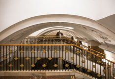 Staircase in Moscow metro Royalty Free Stock Photo