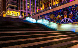 Staircase and mural at night in National Harbor, Maryland. Royalty Free Stock Image