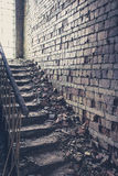 Staircase with old brick wall inside old ruin Royalty Free Stock Photography