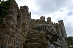 Staircase of the old castle of Obidos royalty free stock photography