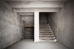 Staircase of an old desolate industrial building Royalty Free Stock Photos