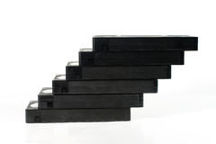 """Staircase"" of old video tapes. (on a white background Royalty Free Stock Images"