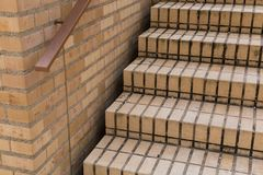 Staircase of orange clay face brick paving Royalty Free Stock Photo