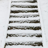 Staircase outdoor covered with snow Royalty Free Stock Images