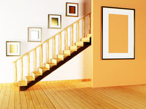 Staircase and paintings in the room Stock Photography