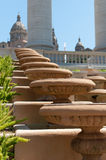 Staircase at Palau Nacional in Barcelona, Spain. Detail of the main staircase with pots at Palau Nacional in Barcelona, Spain Stock Photography