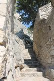 Stairs up to a pirate fortress, Omis, Croatia royalty free stock photos