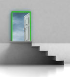 Staircase passage with green framed door Royalty Free Stock Photography