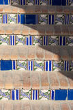 Staircase with patterned ceramic tiles Stock Photo