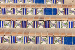 Staircase with patterned ceramic tiles Royalty Free Stock Images