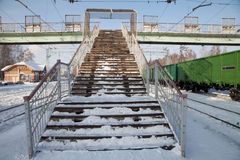 Staircase pedestrian bridge in winter Royalty Free Stock Image