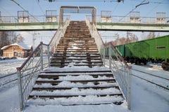 Staircase pedestrian bridge in winter Royalty Free Stock Image