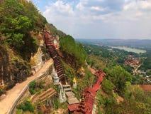 The staircase of pindaya pagoda stock photography