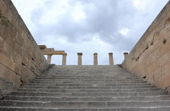 Staircase of the Propylaea. Acropolis of Lindos. Rhodes, Greece. Stock Images