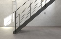 Staircase with Railing in Empty White Room Stock Images