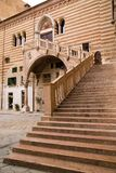 Staircase of reason in courtyard the Palazzo della Ragione. Verona, Italy Stock Photos