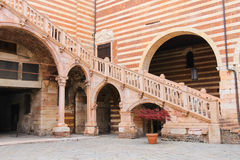 Staircase of reason in courtyard  the Palazzo della Ragione Stock Photography