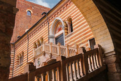 Staircase of reason in courtyard  the Palazzo della Ragione Royalty Free Stock Images