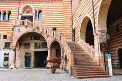 Staircase of reason in courtyard  the Palazzo della Ragione Royalty Free Stock Photos