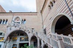 Staircase of reason in courtyard the Palazzo della Ragione, Verona Stock Photo